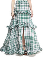 Rosie Assoulin Tiered Seersucker Full Skirt, Green/White