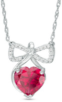 Zales 8.0mm Heart-Shaped Lab-Created Ruby and Diamond Accent Bow Pendant in Sterling Silver