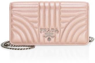 Prada Diagramme Impunture Leather Chain Wallet