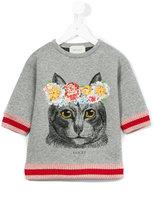 Gucci Kids - cat print T-shirt - kids - Cotton/Viscose/Metallic Fibre/Spandex/Elastane - 4 yrs