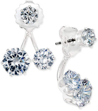 INC International Concepts Inc Silver-Tone Cubic Zirconia Double-Stud Earring Jacket Earrings