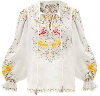 Zimmermann Carnaby Floral-embroidered Ramie Blouse - White Multi