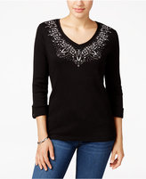 Karen Scott Studded Roll-Tab Top, Only at Macy's