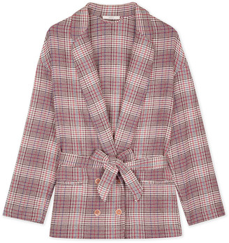 Sessun Pink and Beige Cotton Checked Avaroa Garment Blazer - L - Pink/Marble/Red