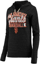 New Era Women's 5th & Ocean by Charcoal San Francisco Giants Jersey Tri-Blend Pullover Hoodie