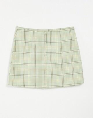 Monki River mini skirt in green check