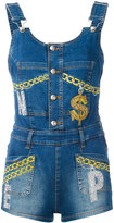 Philipp Plein embellished denim dungarees - women - Cotton/Spandex/Elastane - S