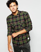 Quiksilver Shirt With Cotton Flannel Check - Green
