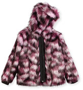 Karl Lagerfeld Hooded Faux-Fur Coat, Pink/Purple, Size 6-10