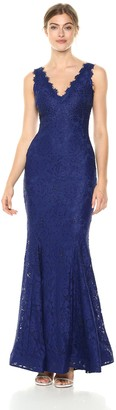 Betsy & Adam Women's Long Scalloped lace Dress with V-Neck and Back