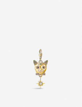 Thomas Sabo Cat Head embellished 18ct yellow gold-plated and gemstone charm