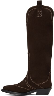 Ganni Brown Suede Western Tall Boots