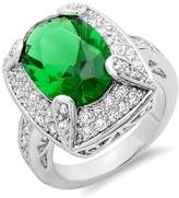 DazzlingRock Collection 8.00 CT Ladies Oval & Round Emerald and Clear Cubic Zirconia CZ Wedding Bridal Engagement Ring Set (Available in size 6, 7, 8) size 7