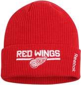 Reebok Men's Red Detroit Red Wings Center Ice Locker Room Cuffed Knit Hat