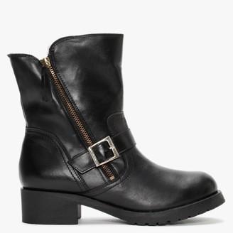 Alba Moda Black Leather Ankle Boots