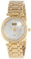Burgi Women's BUR078YG Stainless Steel Pave Pattern Diamond Bracelet Watch