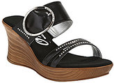Onex Cynthia Leather Double Banded Large Buck Wooden Wedge Sandals