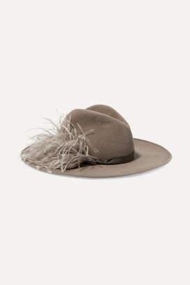 Gigi Burris Millinery Jeanne Feather-trimmed Rabbit-felt Fedora - Gray