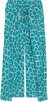 Diane von Furstenberg Tie-front Leopard-print Cotton And Silk-blend Voile Wide-leg Pants