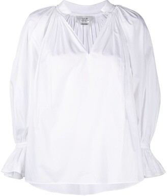Victoria Victoria Beckham Organic Cotton Flouce-Sleeved Blouse