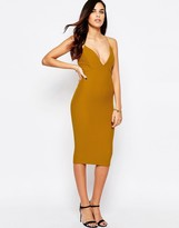 AX Paris Plunge Front Midi Dress in Waffle