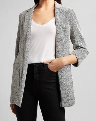 Express Textured Knit Patch Pocket Boyfriend Blazer