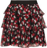 Just Cavalli Tiered printed silk-chiffon mini skirt