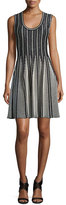 M Missoni Striped Sleeveless Fit-&-Flare Dress, Black/White