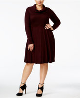 Calvin Klein Plus Size Cowl-Neck Elbow-Patch Sweater Dress