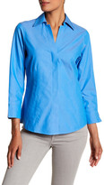 Foxcroft 3/4 Length Sleeve Solid Fitted Blouse