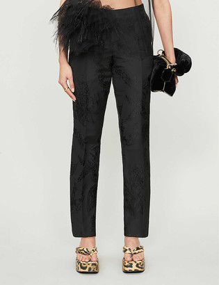 Dries Van Noten Floral tapered mid-rise jacquard trousers