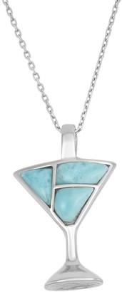 La Preciosa Sterling Silver Larimar Gemstone Martini Glass Necklace