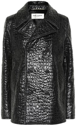 Saint Laurent Croc-effect faux leather pea coat