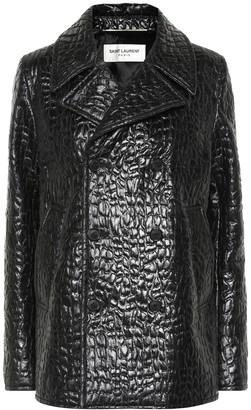 Saint Laurent Croc-effect faux leather pea coat