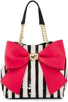 Betsey Johnson Bow and Arrow Striped Tote Bag, Stripe/Fuchsia