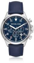 Michael Kors Gage Silver Tone And Blue Leather Men's Watch