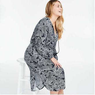 Joe Fresh Women+ Print Neck Tie Dress, Navy (Size 2X)