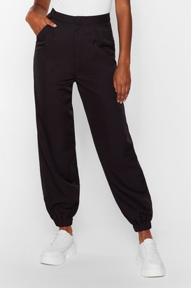 Nasty Gal Womens Tie and Find Out High-Waisted Jogger trousers - Black - 6, Black