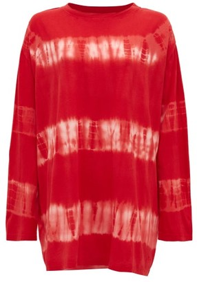 Loewe Paula's Ibiza - Oversized Tie-dyed Cotton And Silk T-shirt - Red White