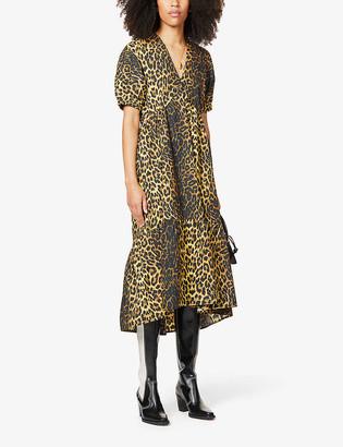 Topshop Leopard-print bow-back cotton midi dress
