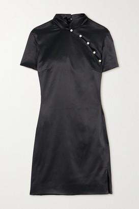 ALEXACHUNG Mandarin Faux Pearl-embellished Satin Mini Dress - Black