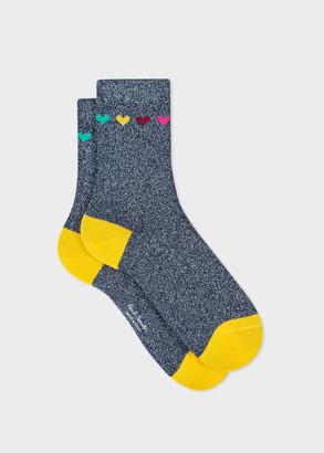 Paul Smith Women's Navy 'Heart And Speckle' Socks