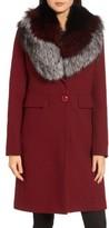1 Madison Women's Genuine Fox Fur Trim Reefer Coat