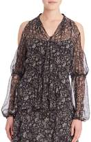 Elie Tahari Women's Annette Silk Cold Shoulder Blouse - Multicolor, Size x-small