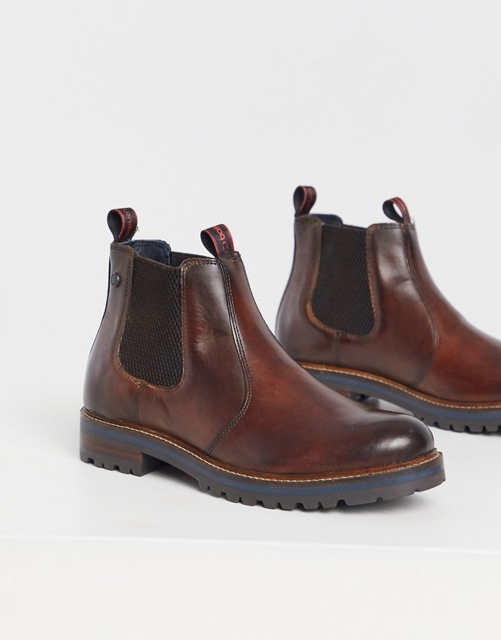 Base London Ténor Cuir Homme Mocassin Enfiler Chaussures Tan