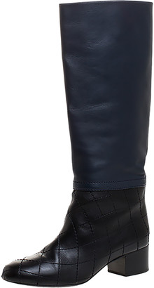 Chanel Navy Blue/Black Quilted Leather Knee Length Boots Size 39.5