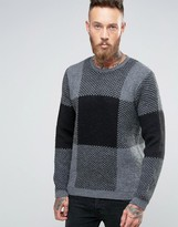 Asos Check Sweater in Fluffy Yarn