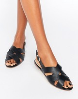 London Rebel Criss Cross Flat Sandals