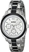 XOXO Women's XO112 Silver Dial Silver-tone and Black Enamel Bracelet Watch