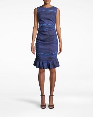 Nicole Miller Shibori Stripe Lauren Ruffle Bottom Dress